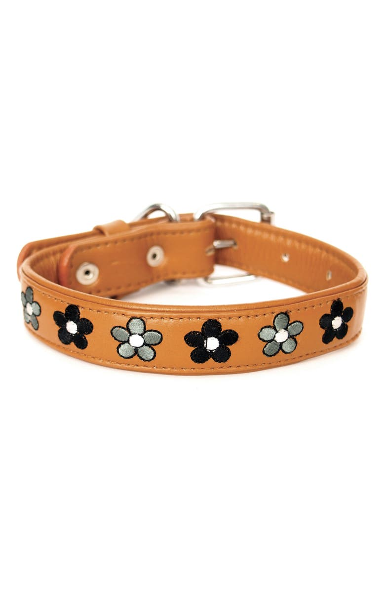 GEORGIE PAWS Jeanne Leather Dog Collar, Main, color, TAN