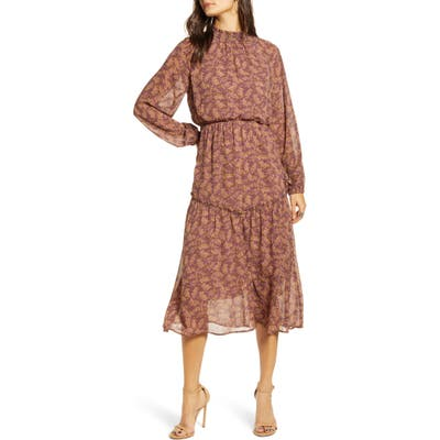 All In Favor Floral Print Long Sleeve Prairie Dress, Purple