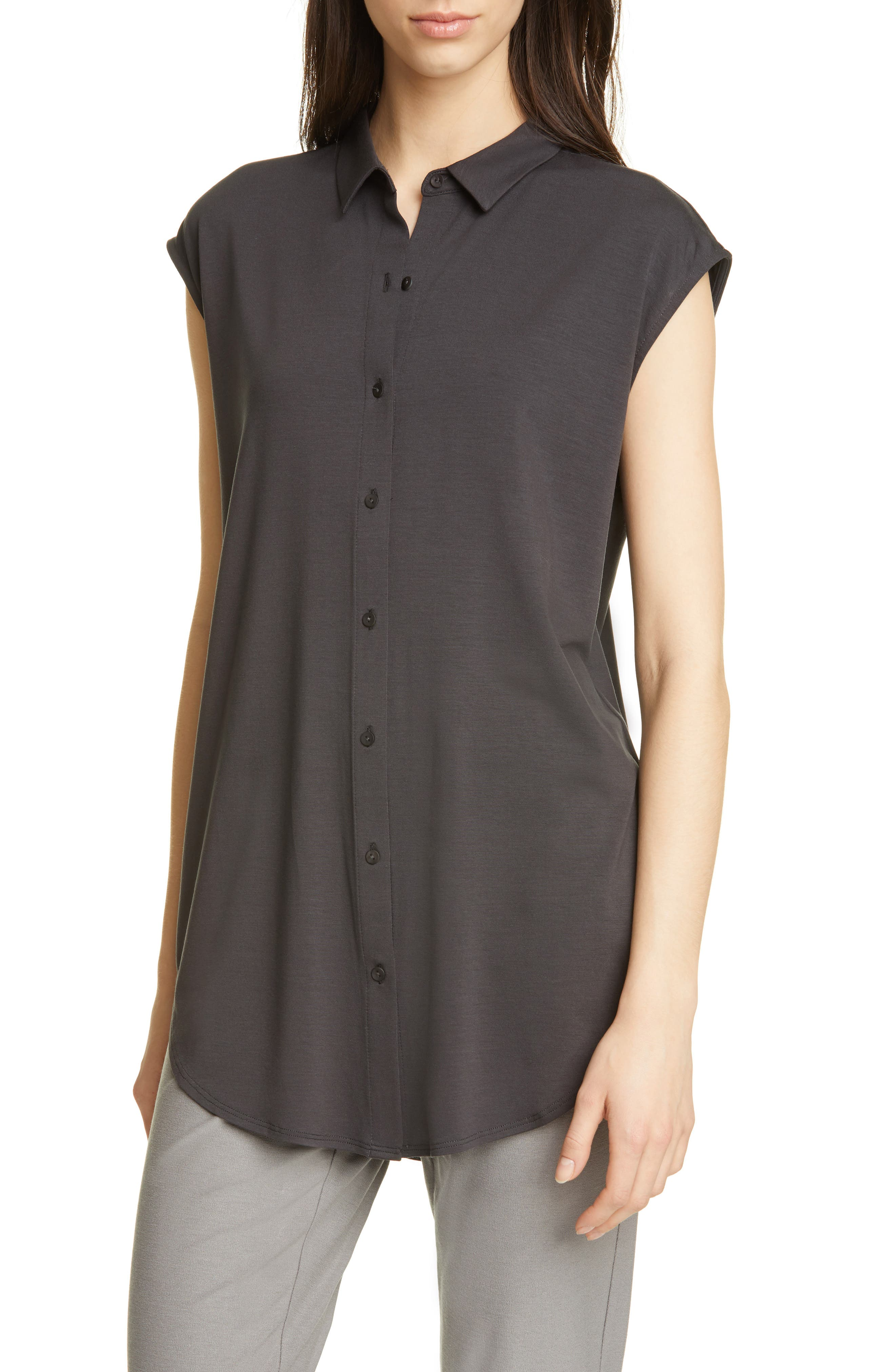 Eileen Fisher Classic Collar Sleeveless Shirt, Grey