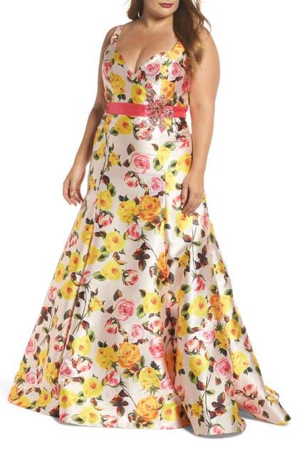 Image of Mac Duggal V-Neck Floral Print Trumpet Dress