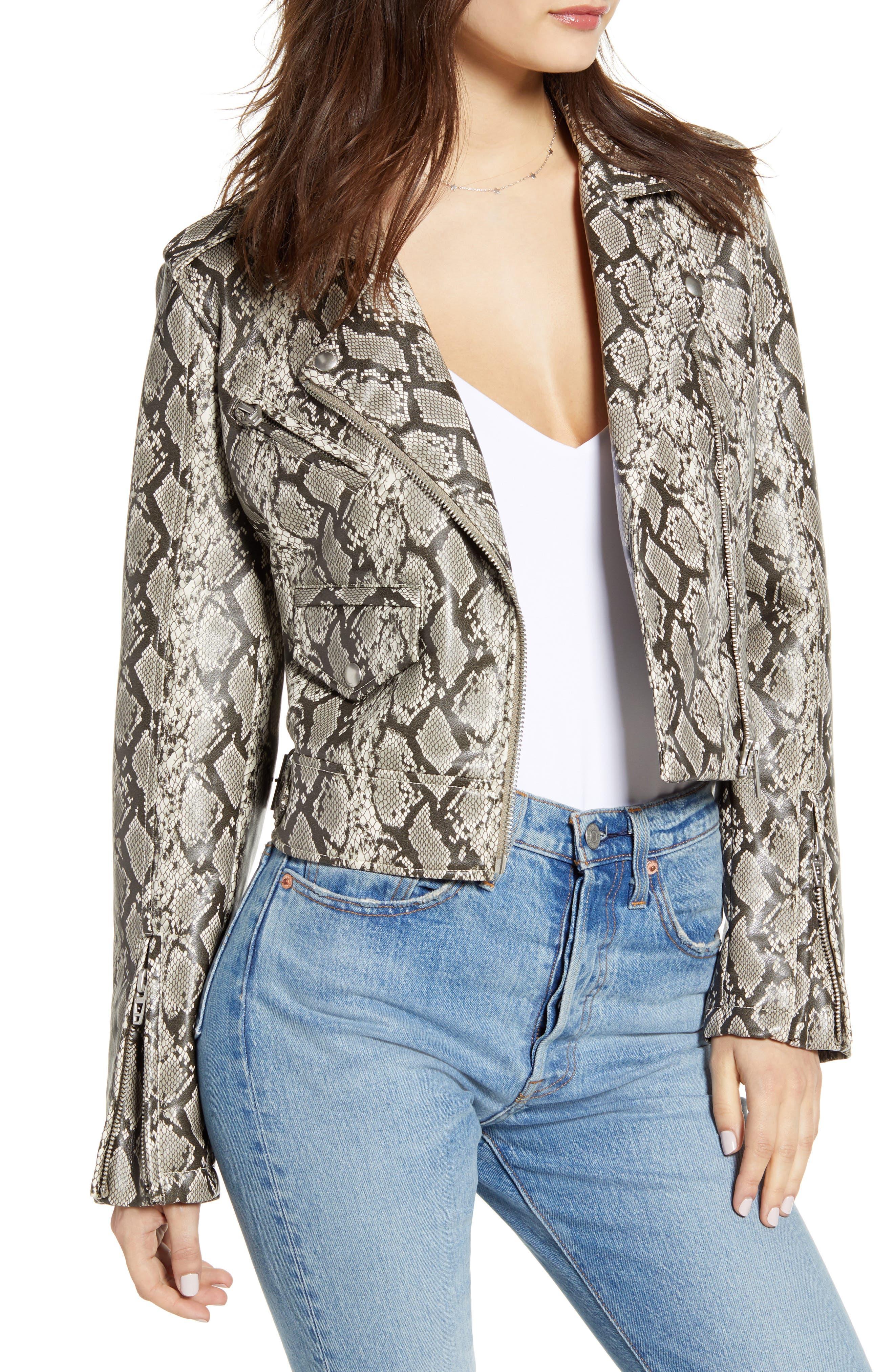 BLANKNYC Faux Leather Snakeskin Moto Jacket