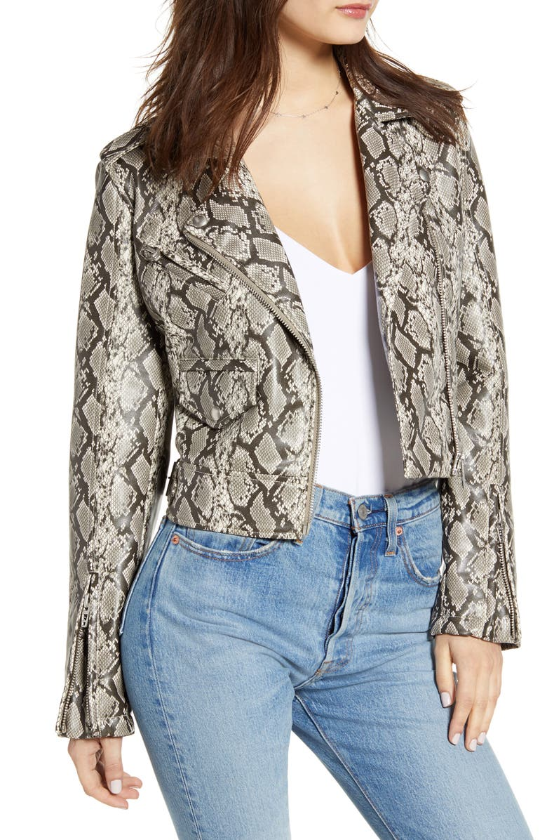 BLANKNYC Faux Leather Snakeskin Moto Jacket, Main, color, BREAK AWAY