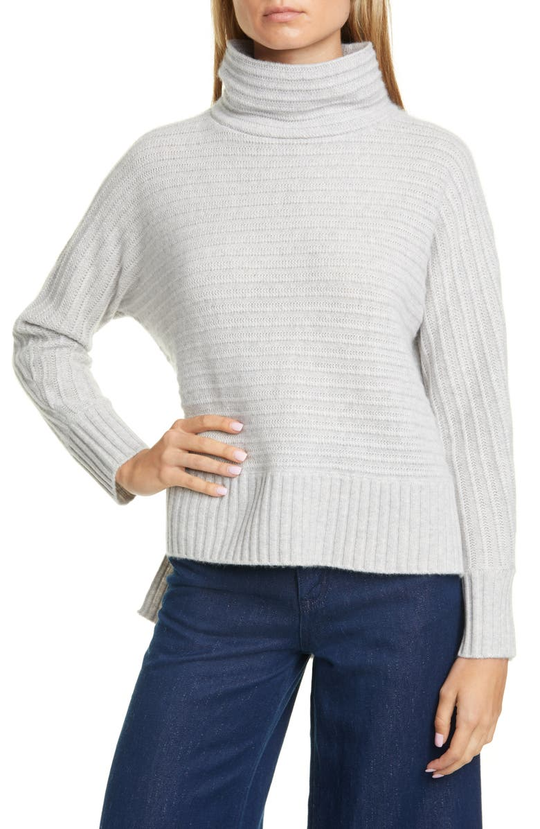 NORDSTROM SIGNATURE Texture Stripe Turtleneck Cashmere Sweater, Main, color, GREY CLAY HEATHER