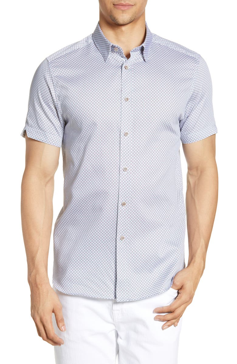 TED BAKER LONDON Slim Fit Geo Print Short Sleeve Button-Down Shirt, Main, color, PINK