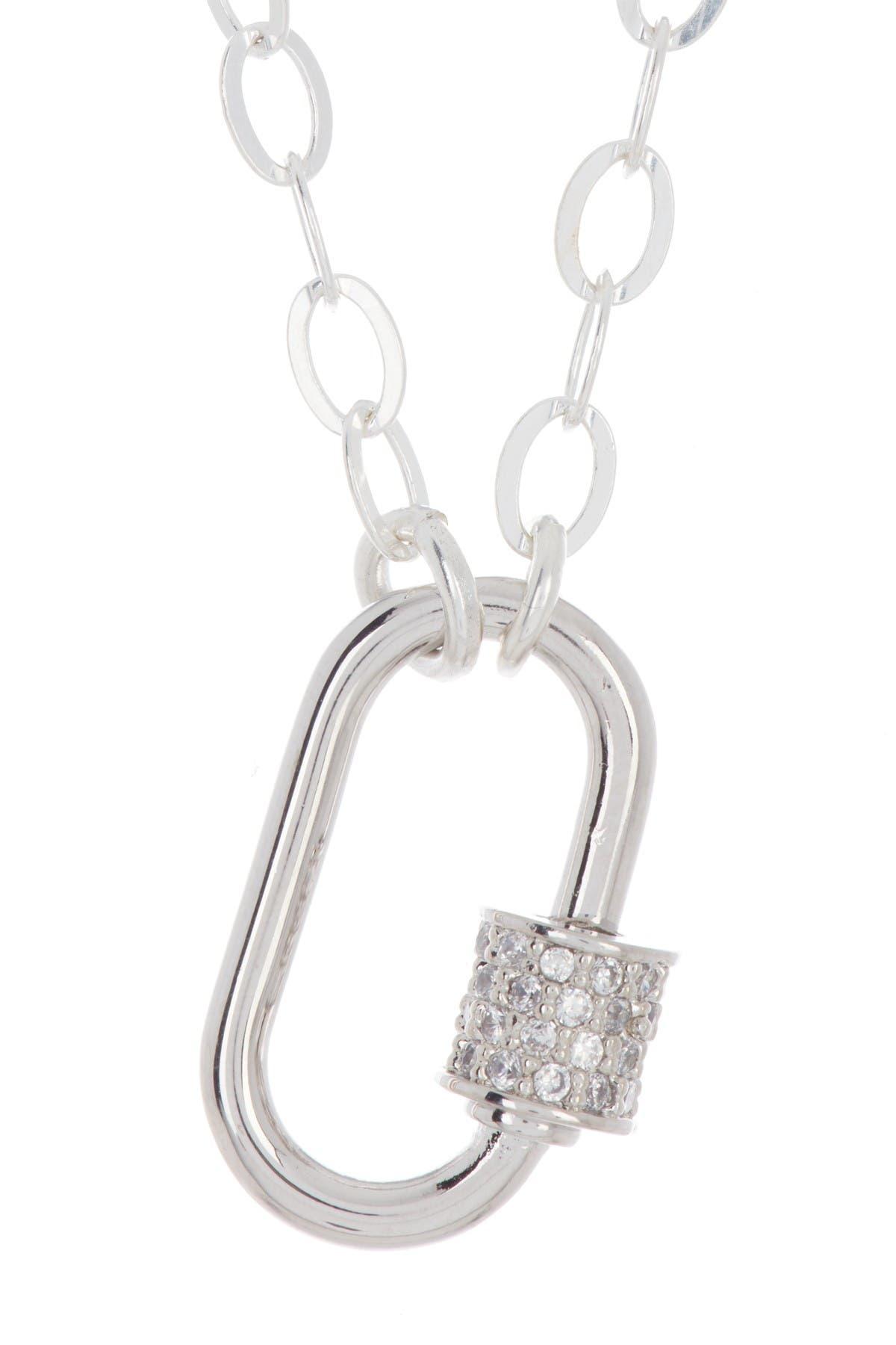 Image of ADORNIA Oval Screw Lock Pendant Necklace