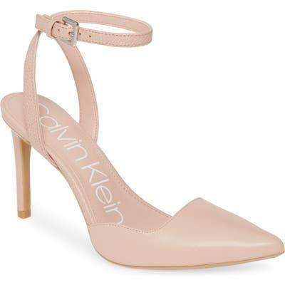 Calvin Klein Raffaela Ankle Strap Stiletto Pump, Beige