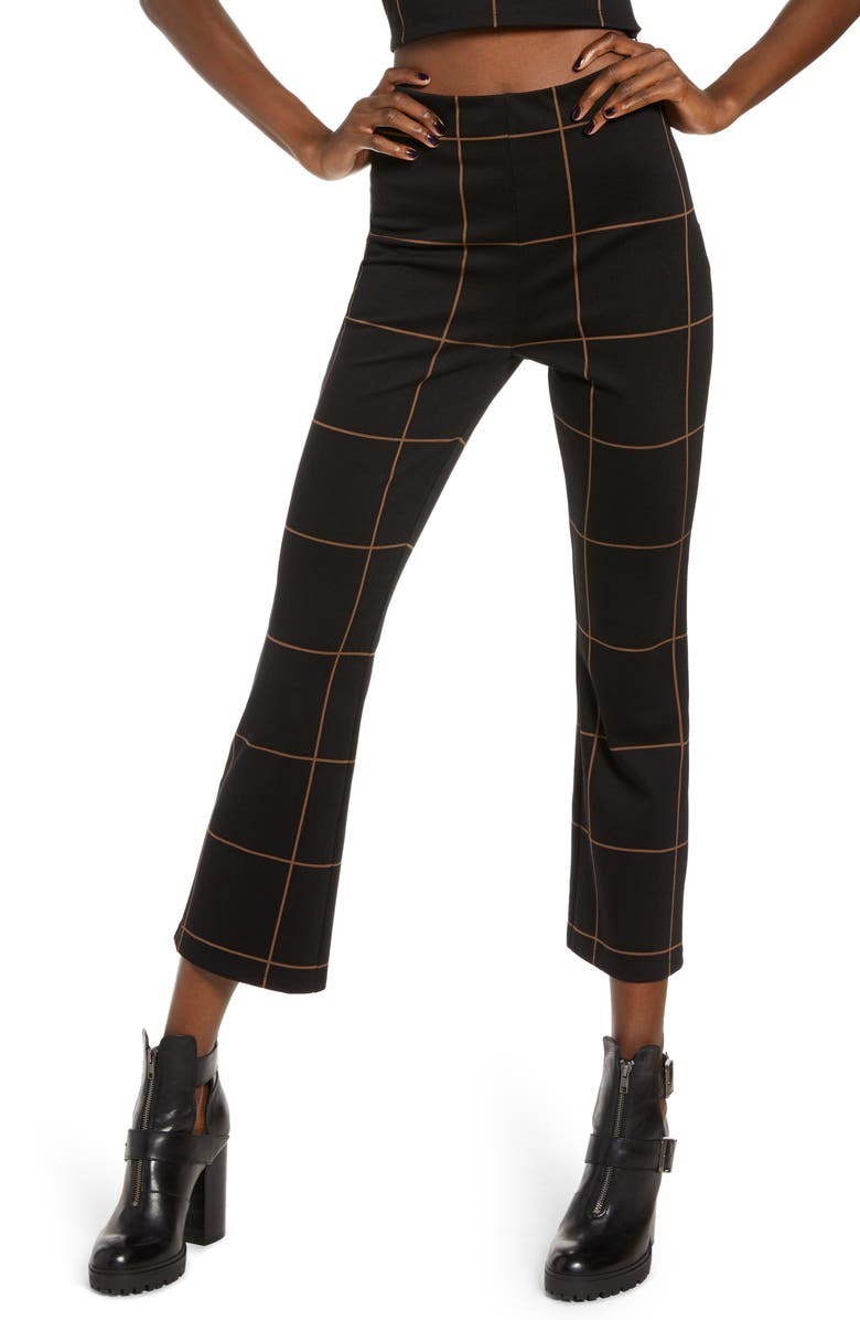 LEITH Ponte High Waist Kick Flare Pants, Main, color, BLACK TAN THIN GRID