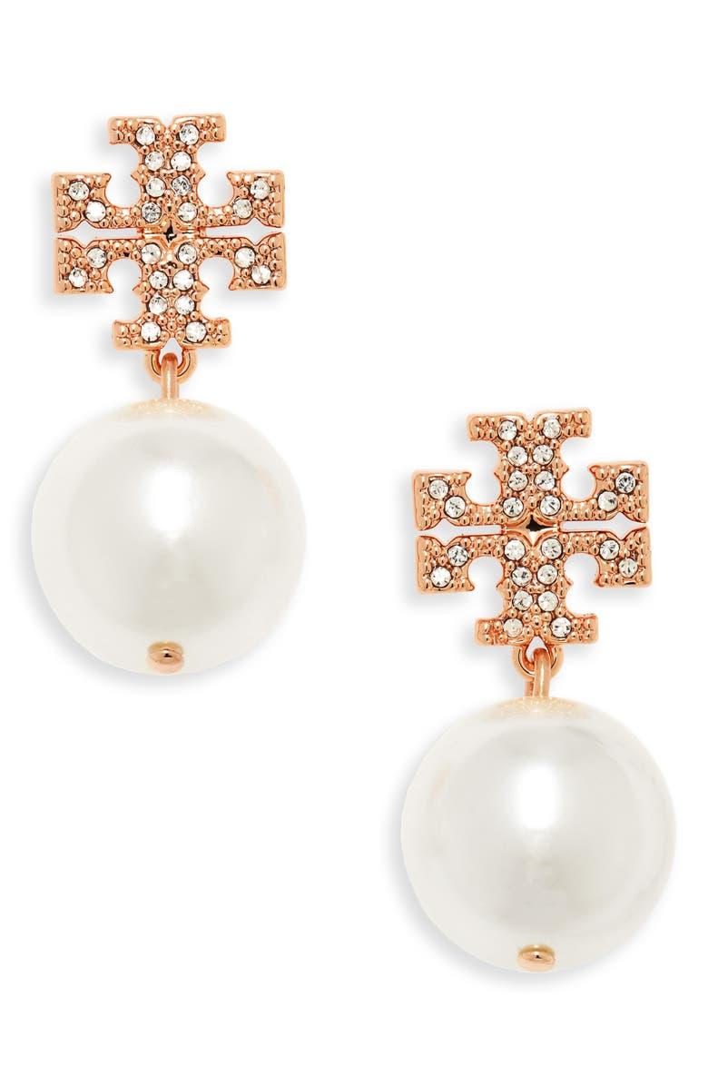 TORY BURCH Imitation Pearl Drop Earrings, Main, color, ROSE GOLD/ CRYSTAL