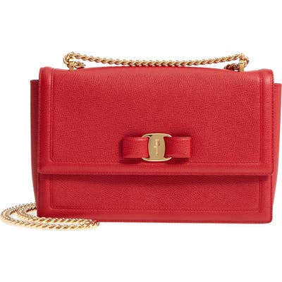 Salvatore Ferragamo Medium Ginny Grained Leather Bow Shoulder Bag - Red