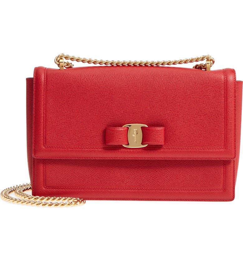 SALVATORE FERRAGAMO Medium Ginny Grained Leather Bow Shoulder Bag, Main, color, LIPSTICK