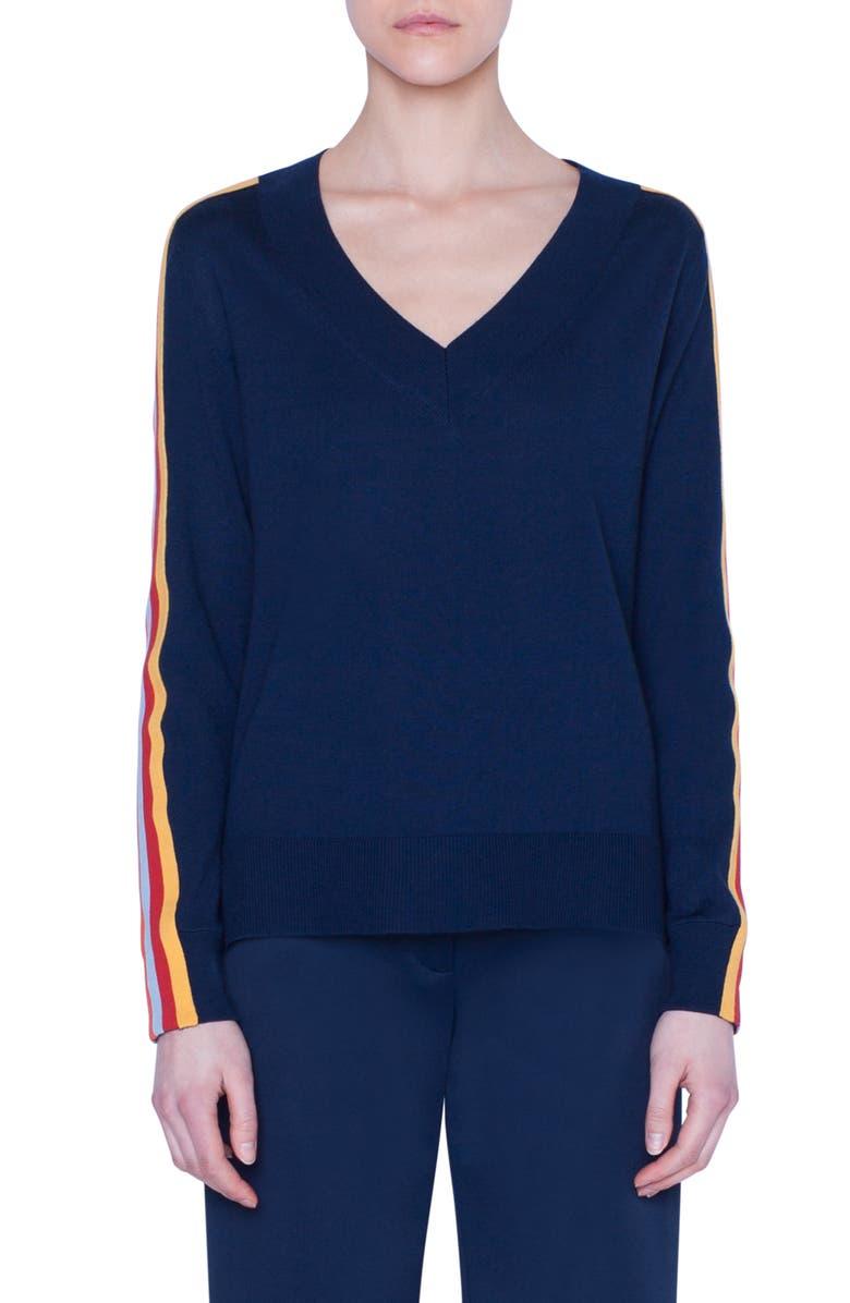 AKRIS PUNTO Rainbow Tape Sweater, Main, color, DARK DENIM