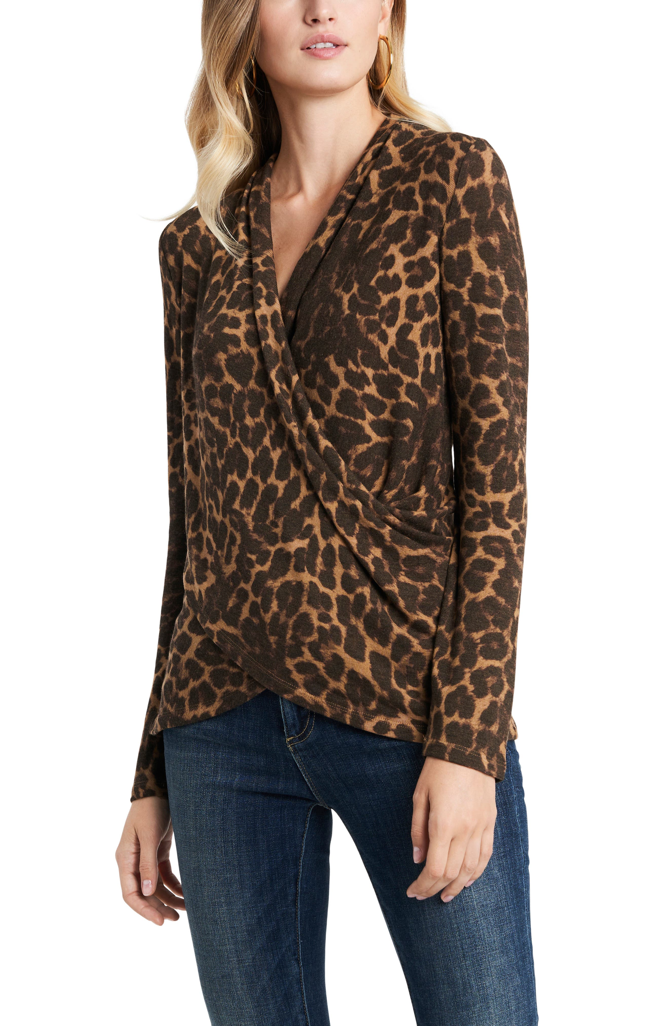 Image of 1.State Luxe Animal Print Surplice Knit Top