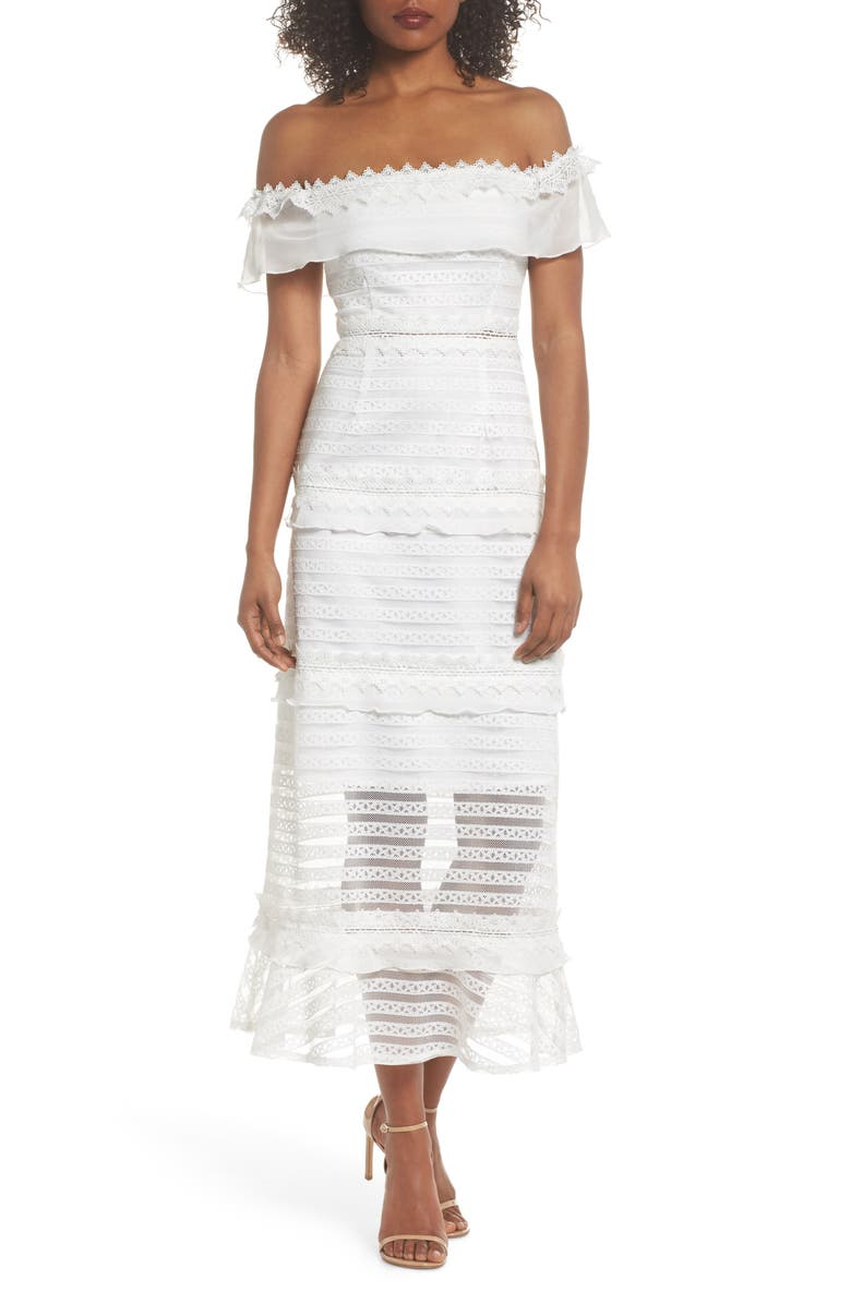 FOXIEDOX Lucy Off the Shoulder Stripe Lace Dress, Main, color, 102