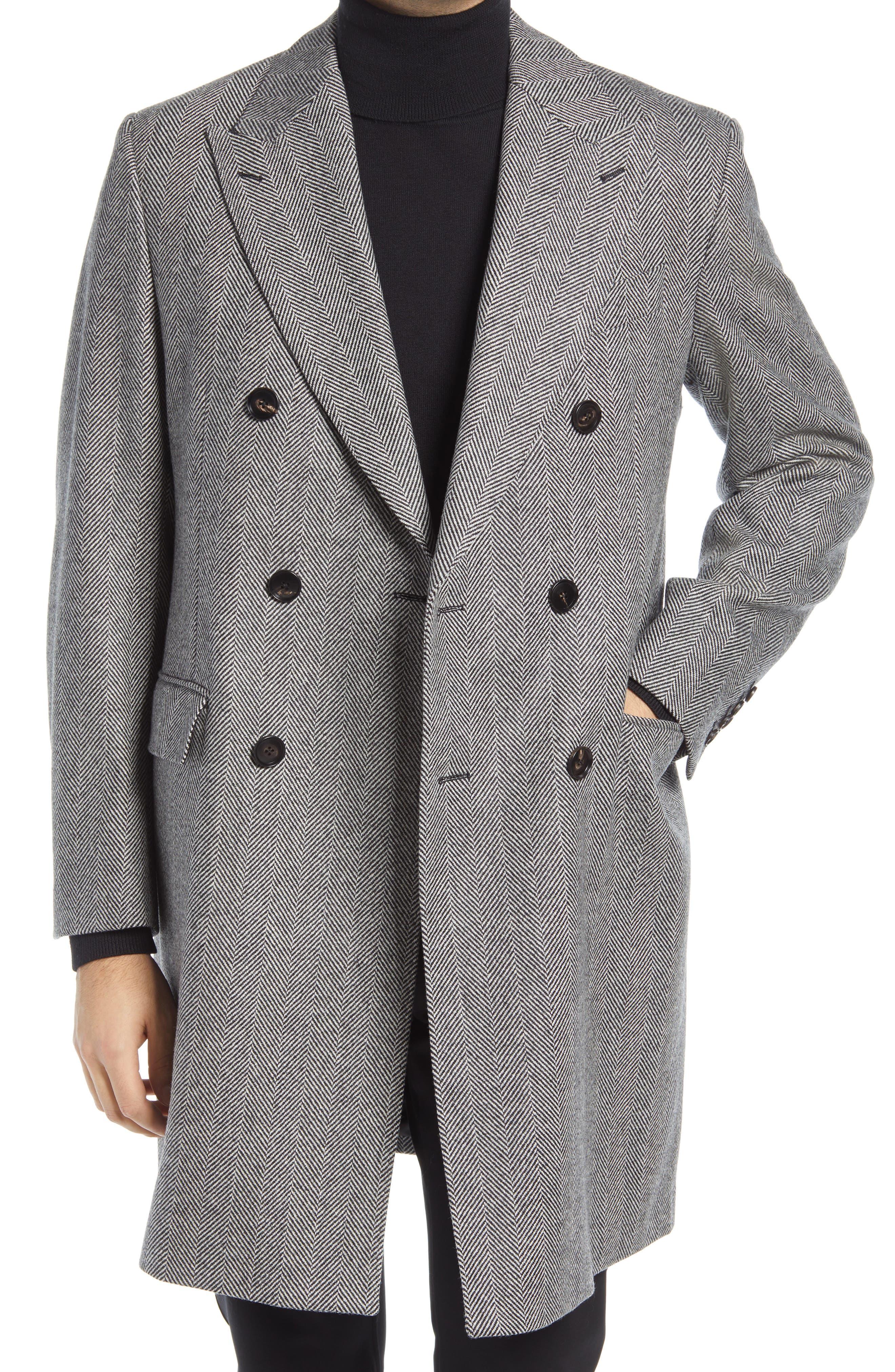 Sheppard Herringbone Wool Double Breasted Overcoat