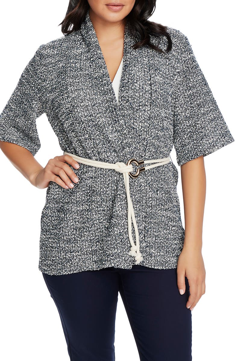 CHAUS Marled Belted Cardigan, Main, color, EVENING NAVY