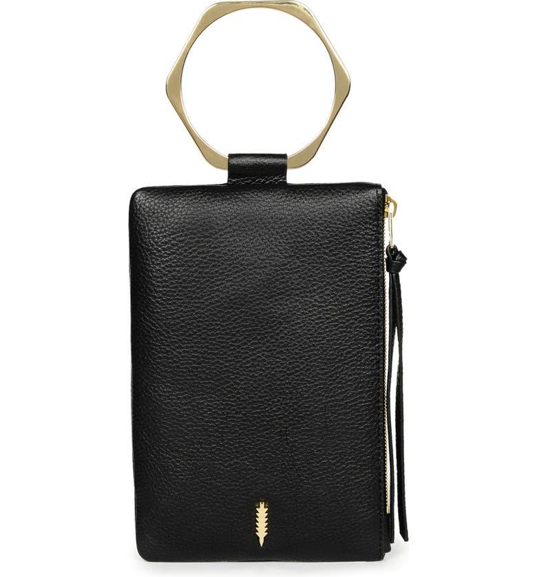 THACKER Nolita Hexa Ring Handle Leather Clutch, Main, color, 001