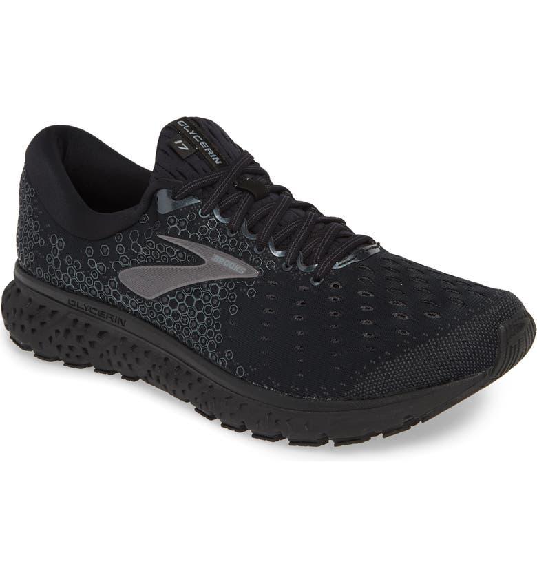 BROOKS Glycerin 17 Running Shoe, Main, color, BLACK/ EBONY