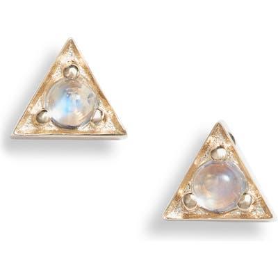Anzie Cleo Moonstone Triangle Stud Earrings
