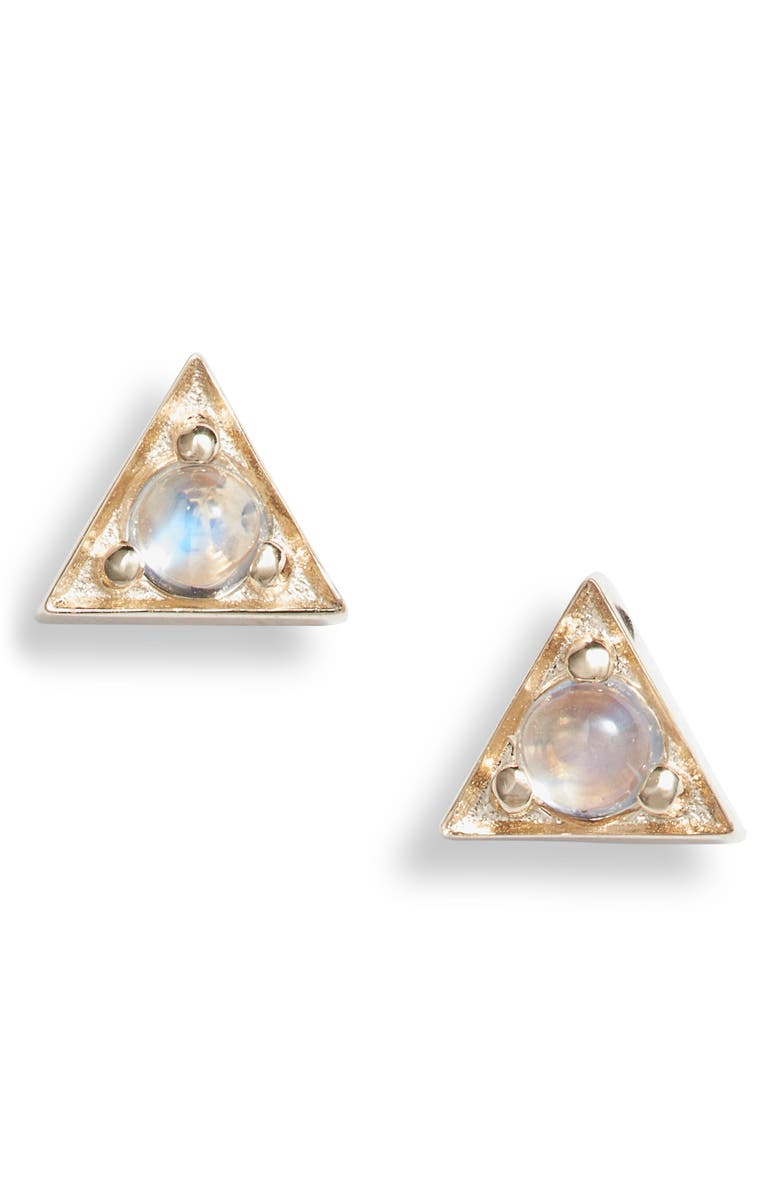 ANZIE Cleo Moonstone Triangle Stud Earrings, Main, color, GOLD/ BLUE MOONSTONE