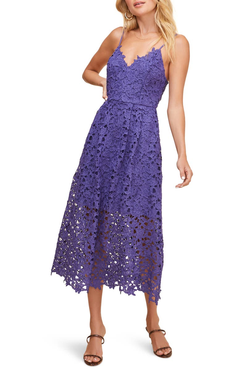ASTR THE LABEL Lace Midi Dress, Main, color, PURPLE IRIS