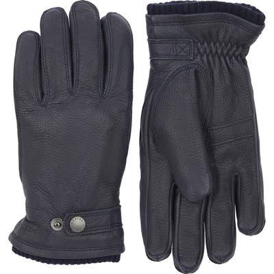 Hestra Utsjo Leather Gloves, Blue