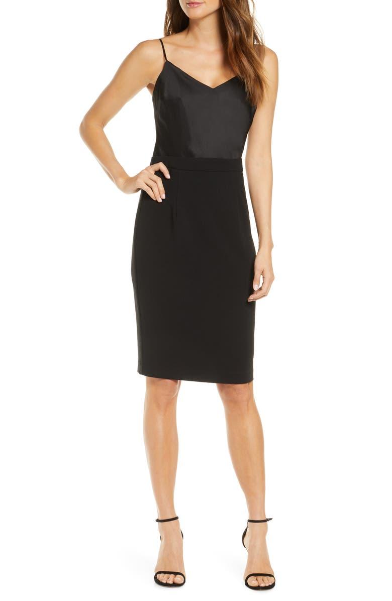 BLACK HALO Teagun Mix Media Sheath Dress, Main, color, BLACK/ BLACK