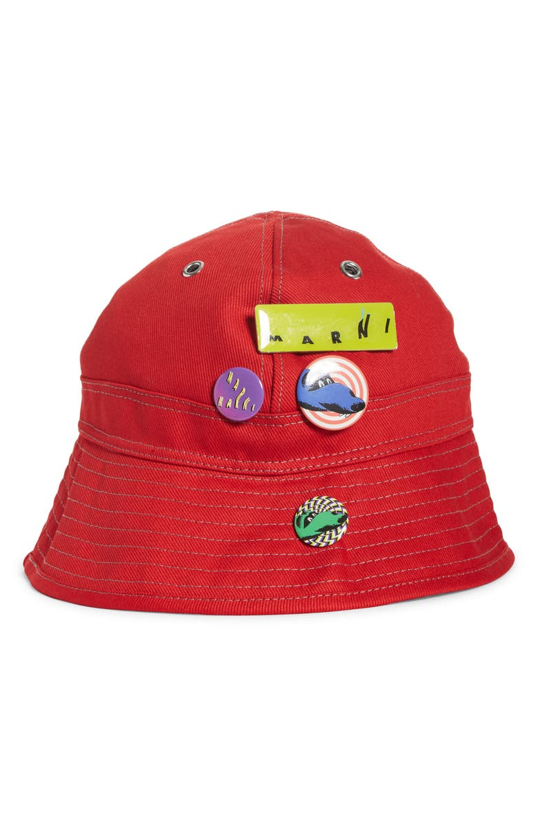 MARNI Water Resistant Button Bucket Hat, Main, color, RED