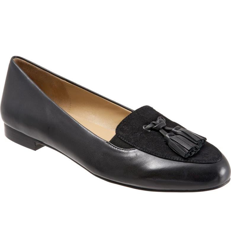 TROTTERS 'Caroline' Tassel Loafer, Main, color, BLACK SUEDE