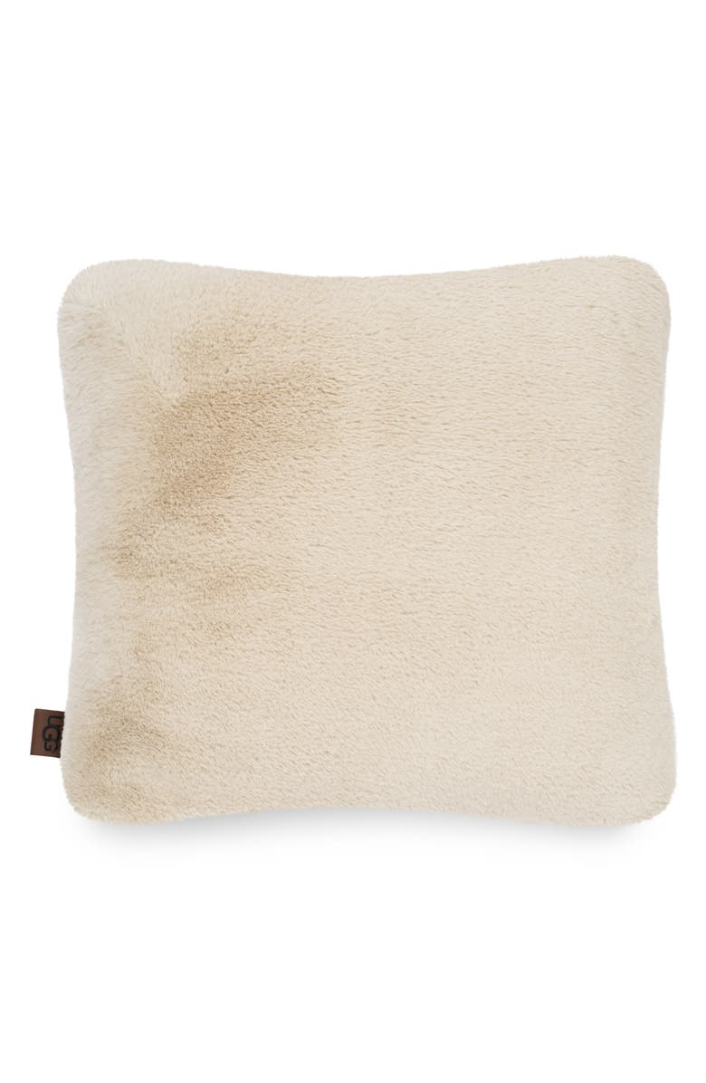 UGG<SUP>®</SUP> Coastline Faux Fur Pillow, Main, color, SAND