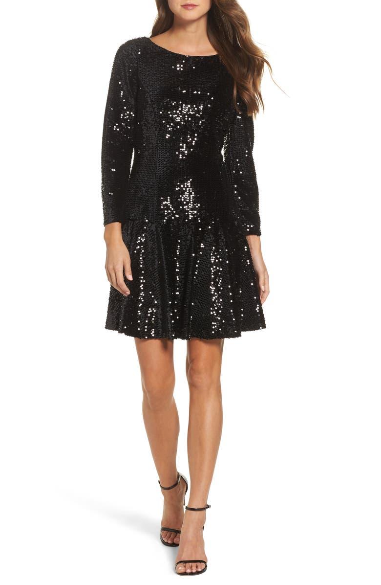 ELIZA J Sequin Fit & Flare Dress, Main, color, 001