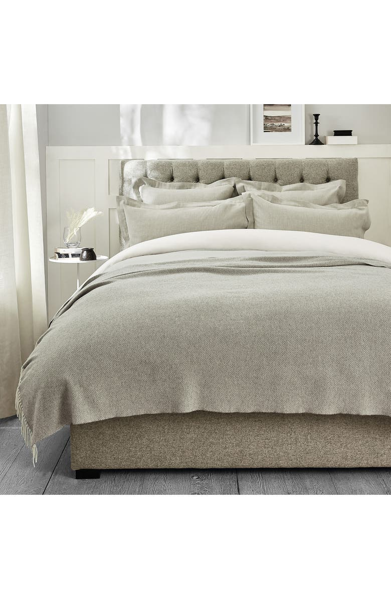 THE WHITE COMPANY Lux Herringbone Wool & Cashmere Throw Blanket, Main, color, GREY/ ALABASTER
