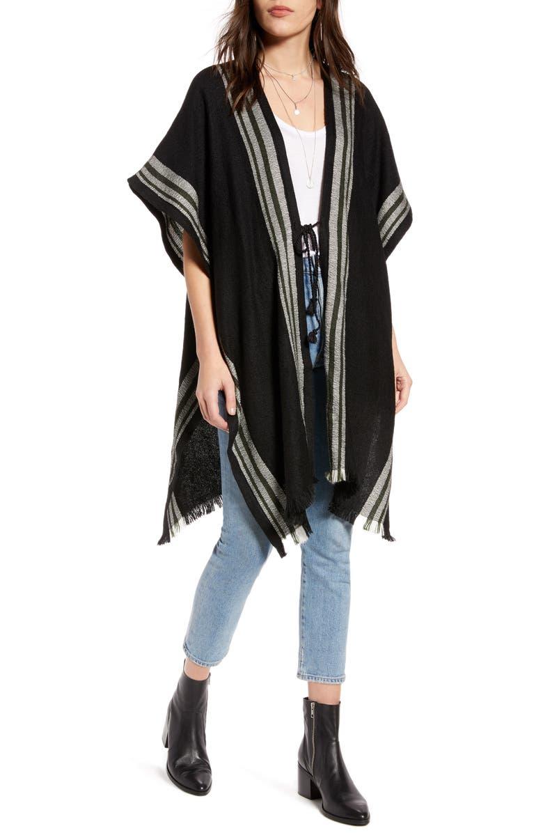 TREASURE & BOND Twill Weave Blanket Wrap, Main, color, BLACK COMBO