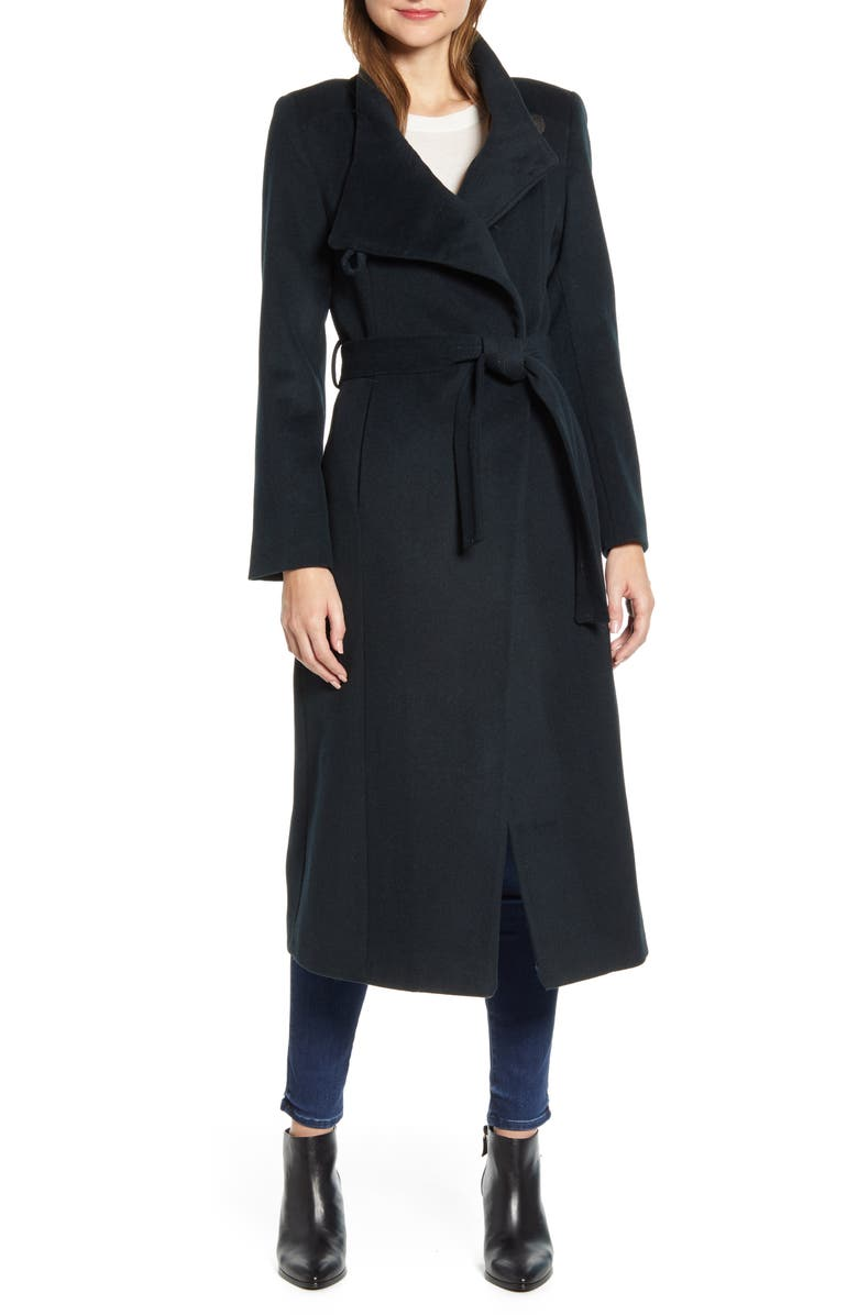 KENNETH COLE NEW YORK Fencer Melton Wool Maxi Coat, Main, color, HUNTER GREEN