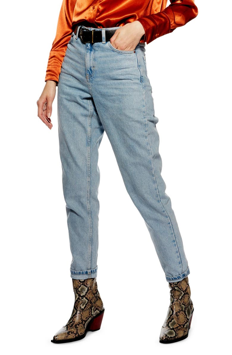 TOPSHOP Bleach Mom Jeans, Main, color, 400