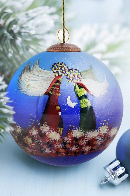 "Image of Overstock Art ""Angels"" Justyna Kopania Hand Painted Glass Ornament Collection - Set of 4"