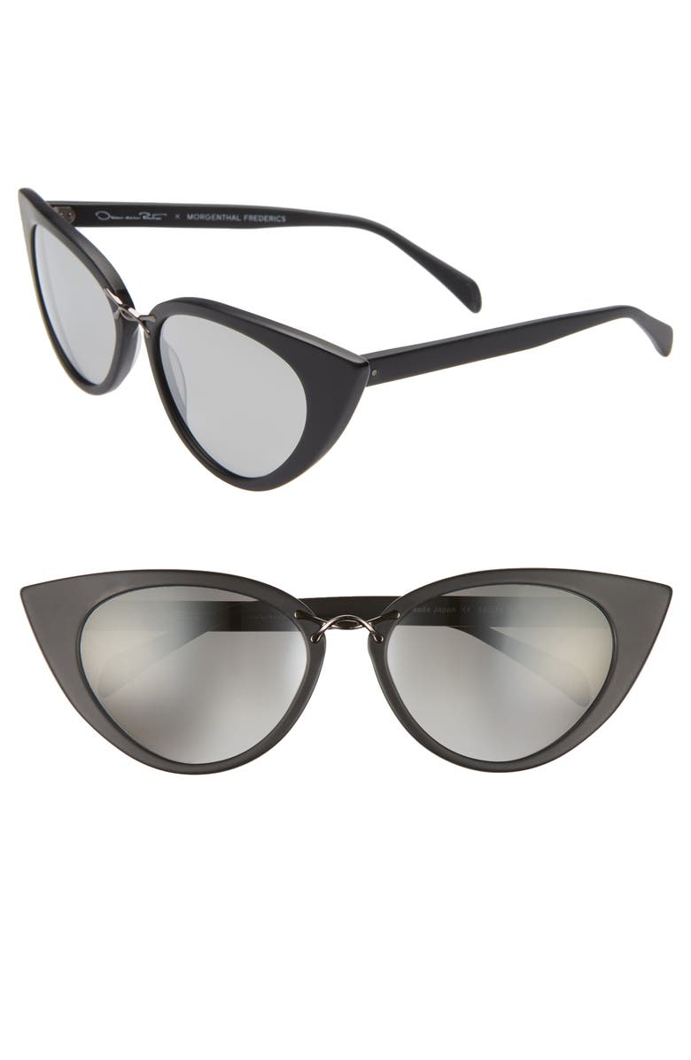 OSCAR DE LA RENTA X MORGENTHAL FREDERICS Twisti 58mm Cat Eye Sunglasses, Main, color, BLACK MATTE