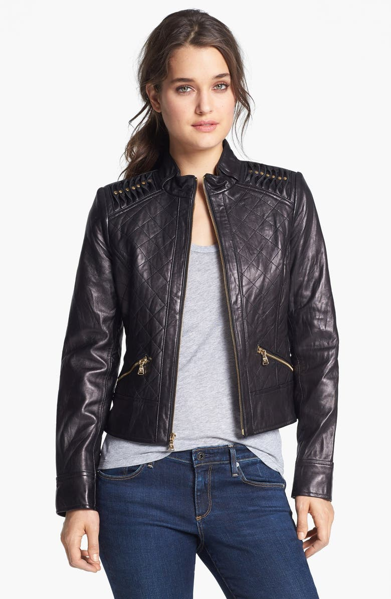 GUESS Shoulder Trim Quilted Leather Jacket, Main, color, 001