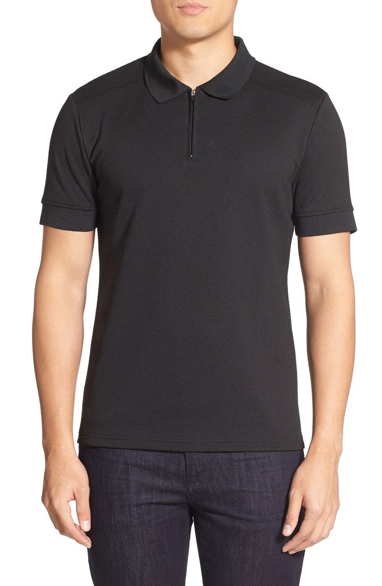 VINCE CAMUTO Slim Fit Mesh Polo, Main, color, BLACK
