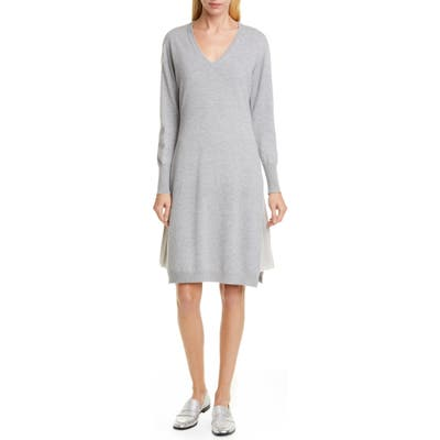 Fabiana Filippi Layered Long Sleeve Sweater Dress, 50 IT - Grey