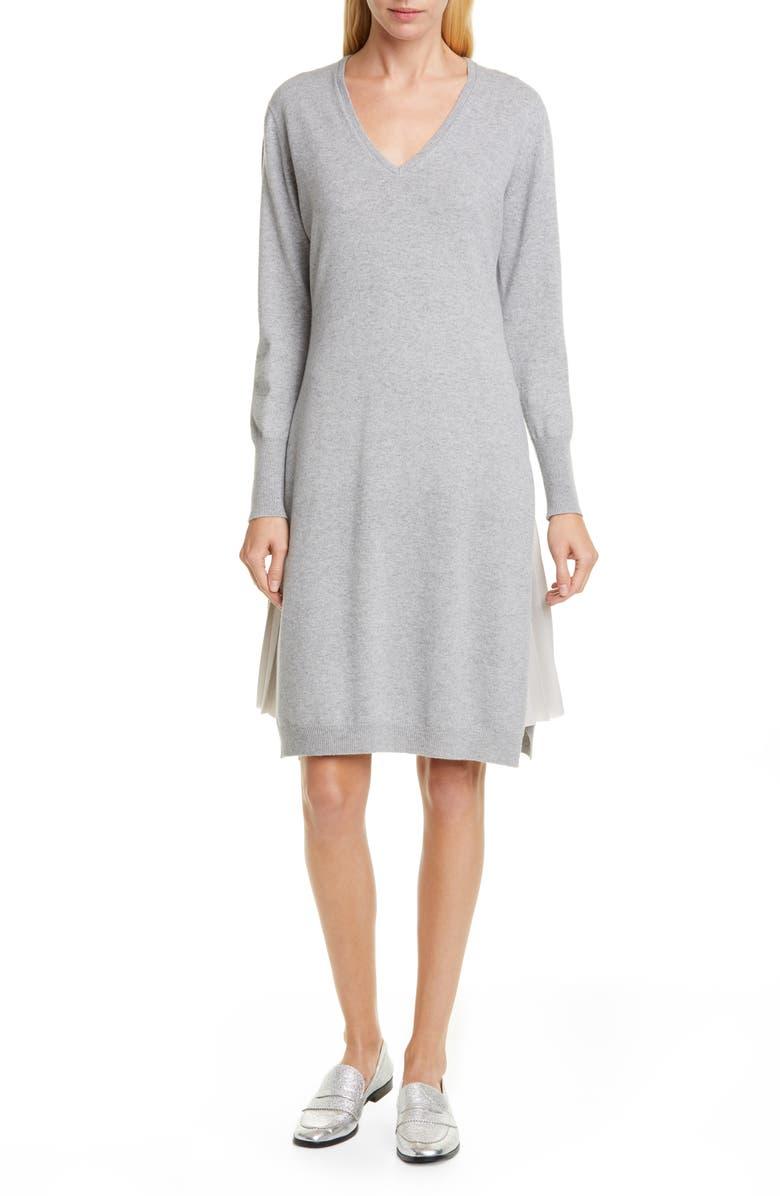 FABIANA FILIPPI Layered Long Sleeve Sweater Dress, Main, color, GREY