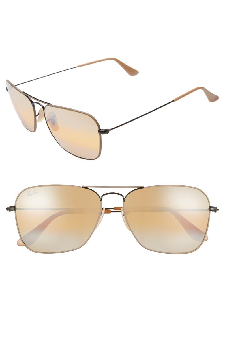 RAY-BAN 58mm Aviator Sunglasses, Main, color, 001