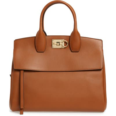 Salvatore Ferragamo Medium The Studio Calfskin Leather Top Handle Bag - Brown