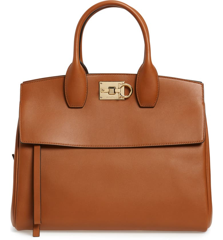 SALVATORE FERRAGAMO Medium The Studio Calfskin Leather Top Handle Bag, Main, color, SELLA
