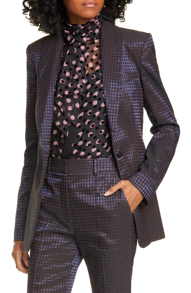 DVF Halzie Dot Jacquard Jacket, Main, color, BLUE MULTI