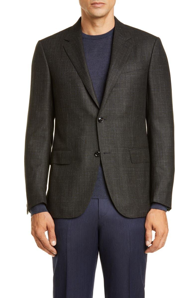 ERMENEGILDO ZEGNA Milano Easy Solid Wool Blend Sport Coat, Main, color, GREEN