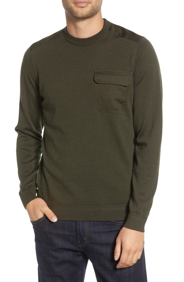 TED BAKER LONDON Saysay Pocket Sweater, Main, color, KHAKI