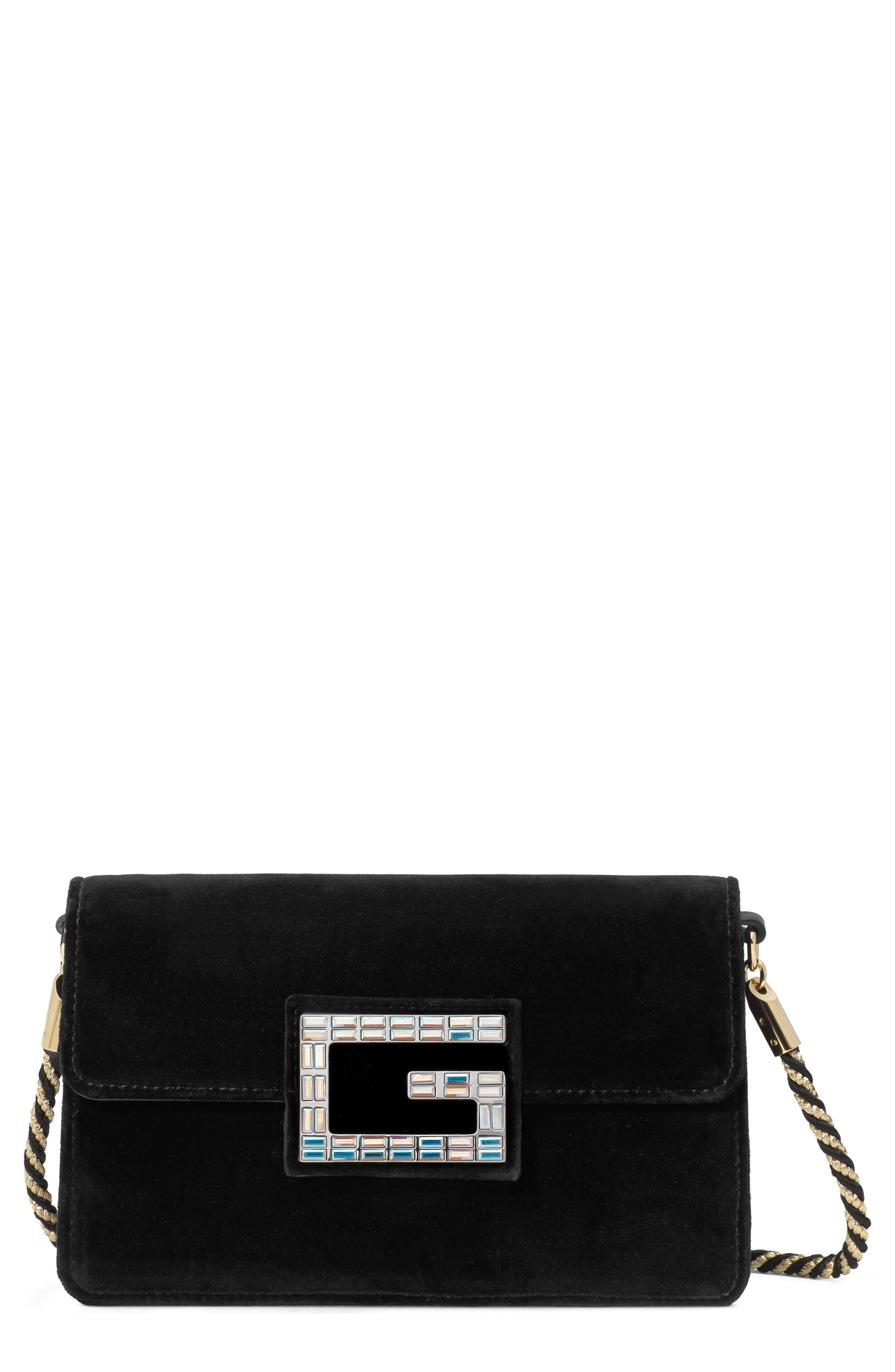 Small Broadway Velvet Crossbody Bag, Main, color, NERO/ NERO ORO/ CRYSTAL