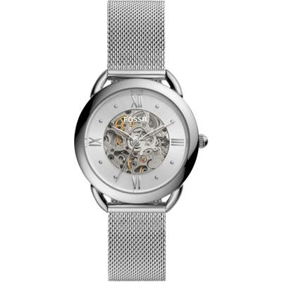 Fossil Tailor Skeleton Automatic Mesh Strap Watch, 35Mm