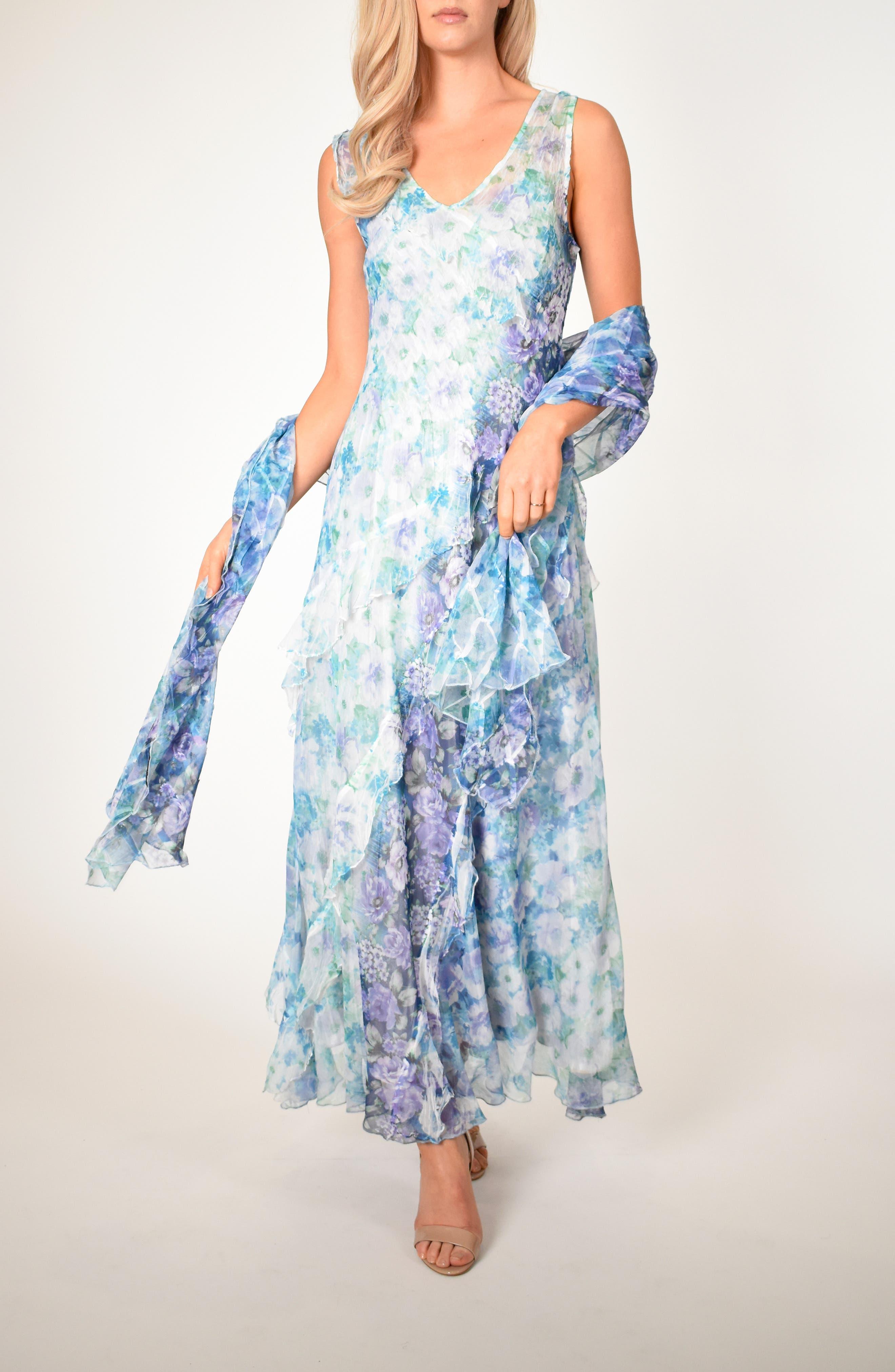 Petite Komarov Floral Side Ruffle Maxi Dress With Matching Shawl, Blue