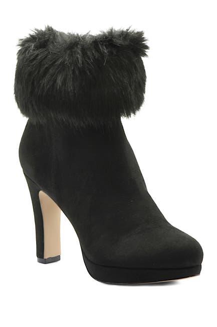 Image of Adrienne Vittadini Faux Fur Cuff Suede Bootie Heel